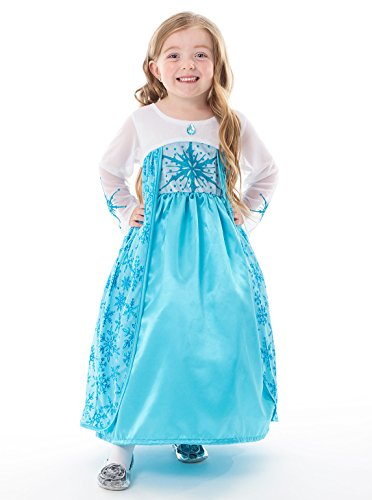Little Adventures Satin Ice Princess Girls Machine Washable Dress-up Costume - wear for Frozen Elsa