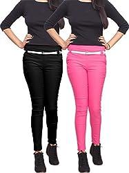 Xarans Stylish Black & Pink Cotton Lycra Zip Jegging Set of 2 Pcs