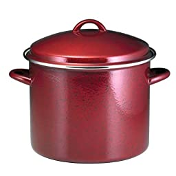 Paula Deen Signature Enamel on Steel 12-Quart Stockpot, Red Speckle