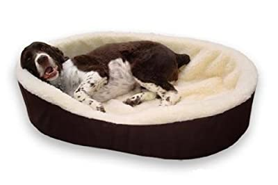 "Made in USA Dog Bed King Cuddler Nest Bed. XL- Extra Large. Outside Dim. 42x32x7"". Inside Dim. 38x28x7"". Brown Exterior with Imitation Lambswool Interior. Removable Machine Washable Cover."