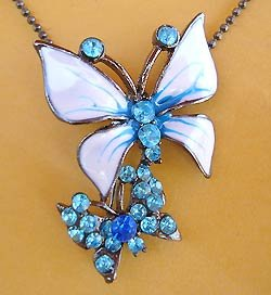 Blue Vintage Style Hand Painted Enamel Butterfly Rhinestone Pin/or Pendant