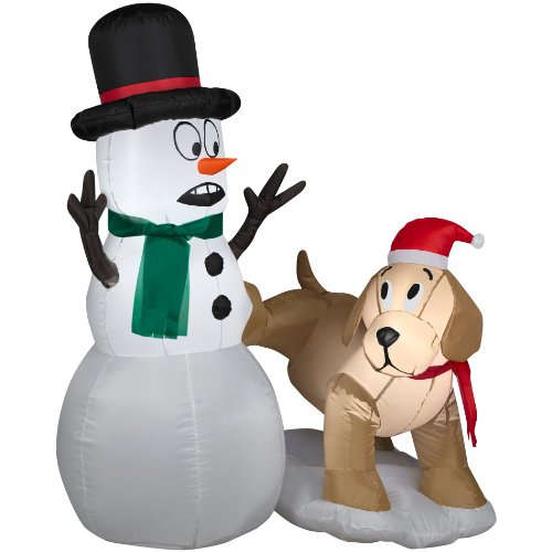 Snowman And A Dog Airblown Christmas Decoration front-184191