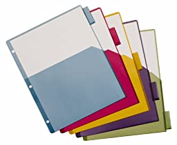 Cardinal Poly Dividers, Single Pocket, 5-Tab, Multi-Color (84016)
