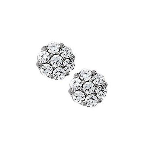 April Birthstone Cubic Zirconia 7 Stone Cluster Earrings In 925 Sterling Silver - B00UEUSDQE