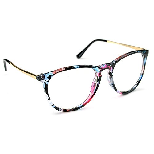 PenSee Womens Fashion Oversized Clear Lens Round Circle Eye Glasses (Creative pattern)