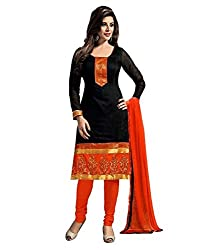 Puffin Fashion Chanderi Black Colour Printed Women's Cotton Dress Material