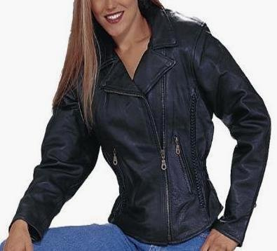 Women's Leather Motorcycle Jacket With Braid Accents