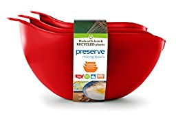 Preserve Nested Mixing Bowl Set Made from Recycled Plastic, Set of Three, Tomato Red