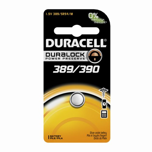 Duracell D389/390PK09 Silver Oxide Electronic Watch Battery, 389/390 Size, 1.55V, 70 mAh Capacity (Case of 6)