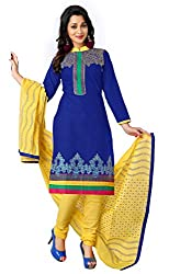 Justkartit Women's Unstitched Blue & Yellow Colour Embroidered Daily Semi-Casual Wear Churidar Salwar Kameez / Low Price High Quality Salwar Suit Set (June-July 2016 Launch)