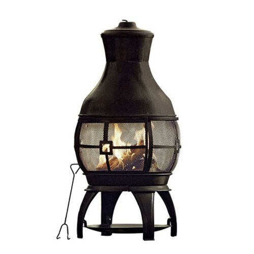 Black-45-Tall-Steel-Chiminea-Fire-Pit-Outdoor-W-Poker-FREE-Cover