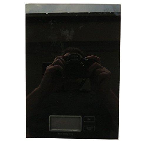 Verre de Cuisine Numérique Plateforme Balance - Noir - grammes, livres & onces - Taille 216mm x 150mm - Chillipepper