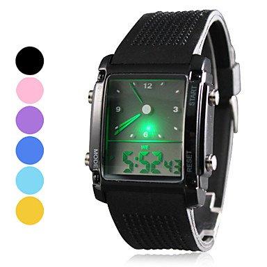 Fenkoo Da uomo Orologio sportivo Quarzo LED / LCD / Calendario / Cronografo / Due fusi orari / allarme Silicone BandaNero / Blu / Rosa / Viola /