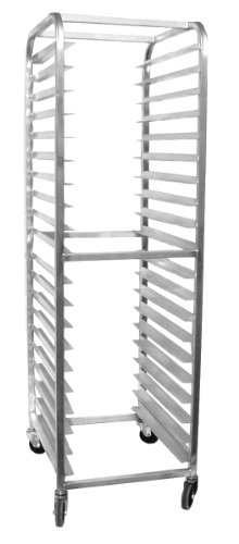 "Magna Industries 4610E Standard-Duty Aluminum End-Load Bun Pan Rack With Stem Casters, 20-1/2"" Width X 70"" Height X 26"" Depth, 20 Shelves front-289799"