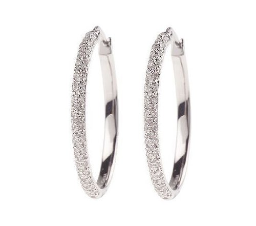 Sterling Silver Simulated Diamond Pave Hoop Earrings