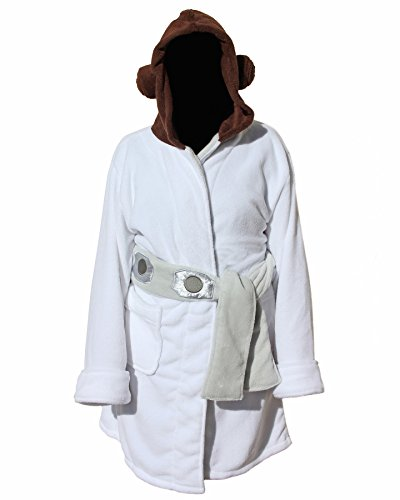Star Wars Princess Leia Womens Fleece Bathrobe & Swim Suit Cover Up (S/M)