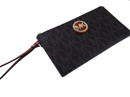 MICHAEL Michael KorsMichael Kors Brown MK Signature PVC Large TZ Clutch Wristlet