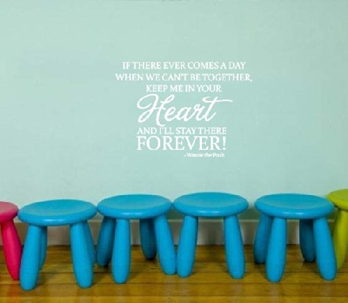 """Winnie The Pooh Wall Decorative Quote """"...Keep Me In Your Heart Forever"""" Boys Kid'S Room Sign Vinyl Lettering Decal Nursery Wall Saying Mural Art Nursery Quote (White) front-960246"""