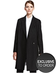 Autograph Wool Rich Peak Lapel Pinstriped Coat