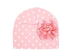 Jamie Rae Hats- Pink White Dot Print Hat with Pale Pink Large Geraniums, Size: 4-6y