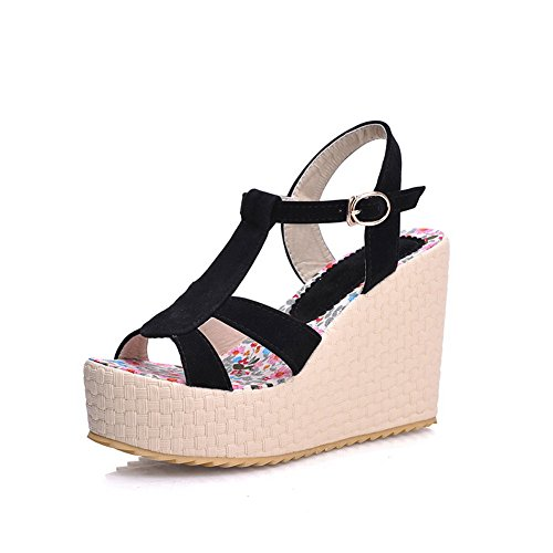 AmoonyFashion Girls Open Toe High Heel Wedge Platform Frosted PU Solid Sandals
