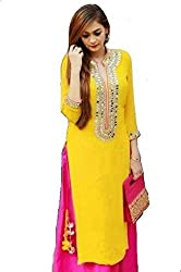 Fashion Zone Cool Yellow Mirror Work Dress Material