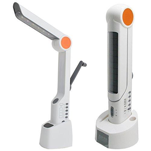 TOPLOLA Solar Table Lamp with Dynamo Charger/FM Radio/AM Radio/Flashlight/Blink/Siren XLN-609 (White)