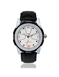 Elfin Men's Genuine Leather Quartz Analogue White Dial Watch (ELF7019A)