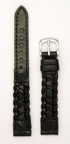 Ladies' Braided Italian Leather Watchband, Color Black, Size 13mm, Watch Strap