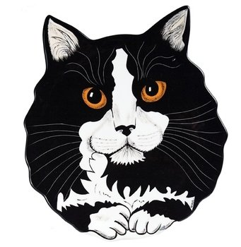 Rescue Me Now Tuxedo Cat Ear Plate, 10-3/4-Inch