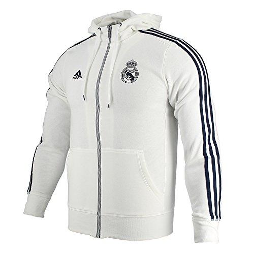Adidas 3S reale Hood ZI-Piumino da uomo, UOMO, bianco/nero, S