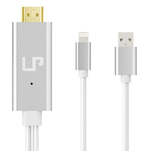 LP Lightning 8 Pin to HDMI Cable, 6.6Ft Lightning MHL To HDMI Cable 1080P HDTV Adapter For iPhone 5 5S 6 6s plus