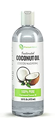 Premium Nature - Fractionated Pure Coconut Oil- Skin Moisturizer, Therapeutic, Odorless, 16 Oz