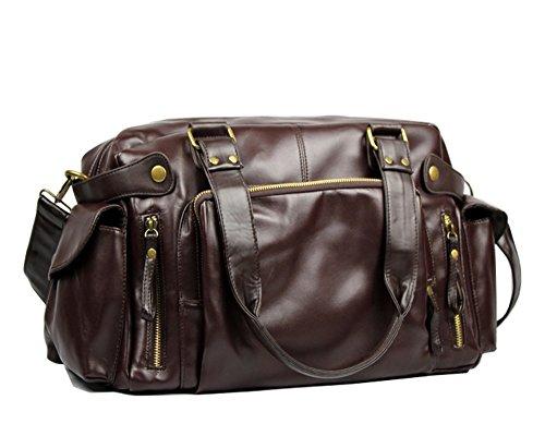 Cooler sac PU d'épaule, sac de messager, sacs à main et grand sac de Voyage de la capacité des hommes 40 * 26 * 13 (W x H x D) (brun foncé)