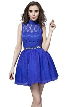 Girl's Turtle Neck Royal Blue Prom Dress with Handcraft