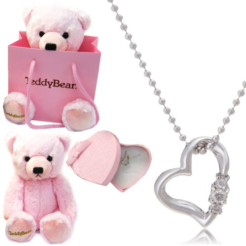 [Sears] Sears natural diamond necklace heart box Teddy bear plush set 4-birth stones diamonds pink bear 1491-tdt-01-p4.