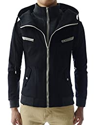 (LCJ10) TheLees Double Zipper Hood Jacket BLACK US L(Tag size 2XL)