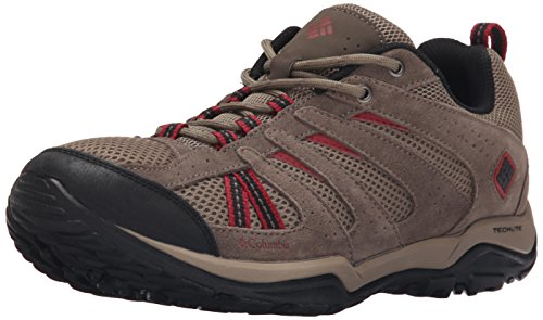 Columbia Men's North Plains Drifter Trail Shoe, Pebble/Red Dahlia, 7 D US