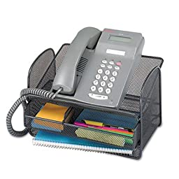 Safco Home Office Onyx Mesh Telephone Stand With Drawer, Black-BL 5 Pack