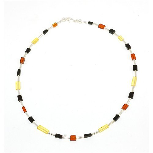 925 Silver And Three Colour Square Amber Bead Necklace