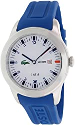 Lacoste Men's Seattle 2010630 Blue Rubber Analog Quartz Watch with White Dial