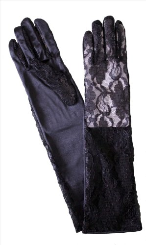 Dents Long Lace and Satin Dress Gloves (mid-length), Black - Ladies/Womens