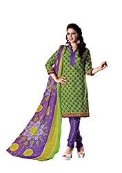 RUDRA FASHION WOMEN'S GREEN & PURPLE COTTON SALWAR SUIT DRESS MATERIAL WITH COTTON DUPATTA.DS-2111