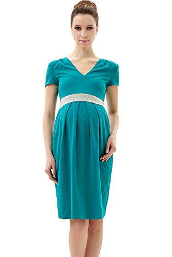 Momo Maternity Contrast Pleated Dress - Teal L