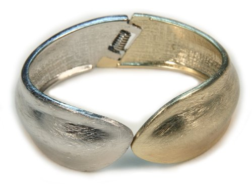 Gold Silver Two-tone Metal Fashion Bangle