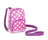 Nuby 2 in 1 Quilted Harness Backpack, Quilted Hearts, Pink, Child Leash, Baby Walking Safety Harness, Kid Backpack with Tether, Toddler Travel, Wrist Leash from Nuby