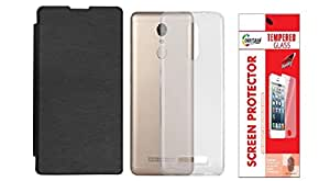Colorcase Flip Cover Case for Xiaomi Redmi Note 3 - Black with Back Cover & Tempered Glass (Combo Set)
