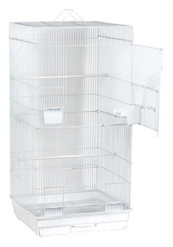 Blue Ribbon Extra Tall Square Style Roof Bird Cage, 18-Inch by 18-Inch by 36-Inch, White/Granite