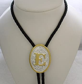 "Amazon.com: Silver/Gold Plated Monogram Letter ""E"" Bolo Tie: Clothing"