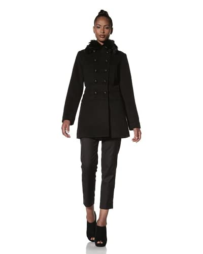 Hilary Radley Women's Military Coat with Fox Fur